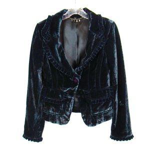 Bebe Blue Velvet Ruffled Blazer Women's Size 4